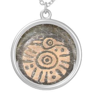 Mayan Bird Round Pendant Necklace