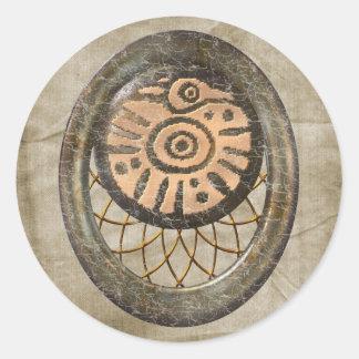 Mayan Bird Round Sticker