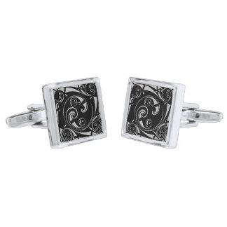 Mayan Block Silver Finish Cuff Links