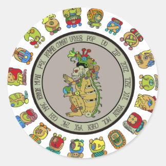Mayan-calendar Death God Round Sticker