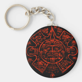 Mayan Calendar Image design Basic Round Button Key Ring