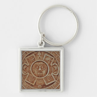 Mayan Calendar Silver-Colored Square Key Ring