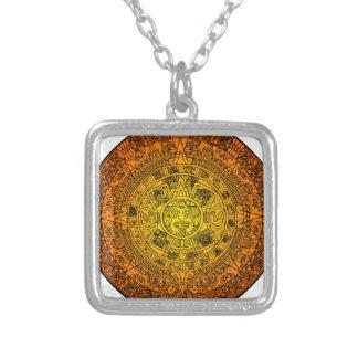 Mayan Calendar Square Pendant Necklace