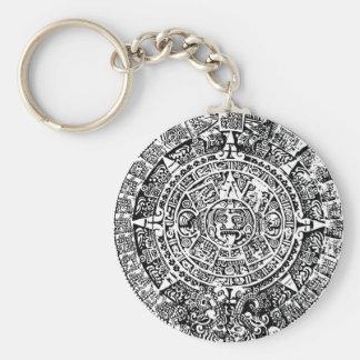 Mayan Calendar White Keychains