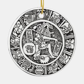 Mayan circle, Mexican hieroglyph(Maya) Ceramic Ornament
