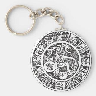 Mayan circle, Mexican hieroglyph(Maya) Key Ring