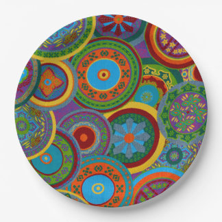Mayan Circle Pattern Background 9 Inch Paper Plate
