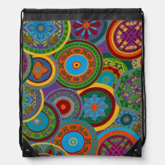 Mayan Circle Pattern Background Drawstring Bag