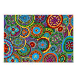 Mayan Circle Pattern Background Photo Print