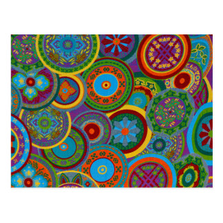 Mayan Circle Pattern Background Postcard