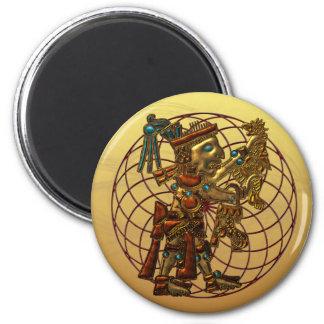 Mayan Deity 6 Cm Round Magnet