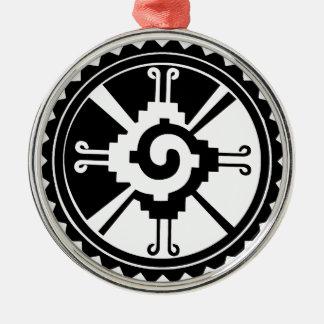 Mayan Deity Symbol Hunab Ku Silver-Colored Round Decoration