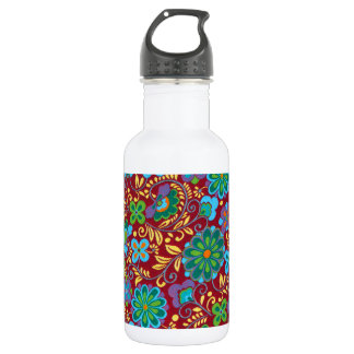 Mayan Floral Red Pattern 532 Ml Water Bottle