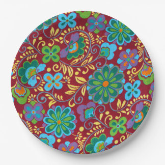 Mayan Floral Red Pattern 9 Inch Paper Plate