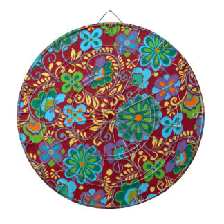 Mayan Floral Red Pattern Dartboard