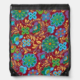 Mayan Floral Red Pattern Drawstring Bag