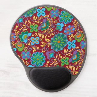 Mayan Floral Red Pattern Gel Mouse Pad