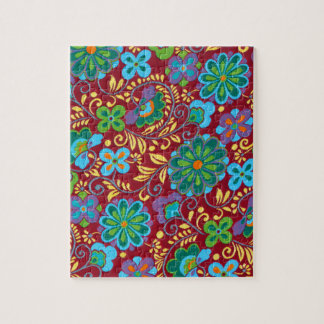 Mayan Floral Red Pattern Jigsaw Puzzle