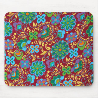 Mayan Floral Red Pattern Mouse Pad