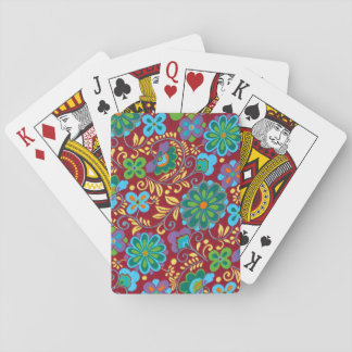 Mayan Floral Red Pattern Playing Cards