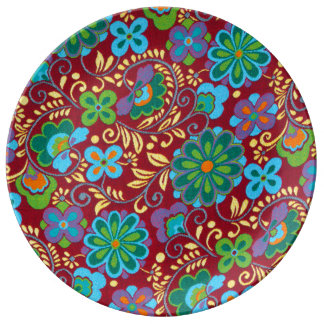 Mayan Floral Red Pattern Porcelain Plate