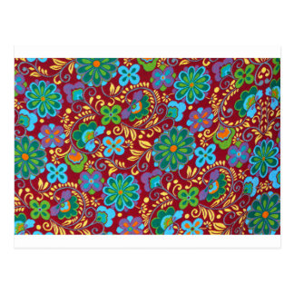 Mayan Floral Red Pattern Postcard