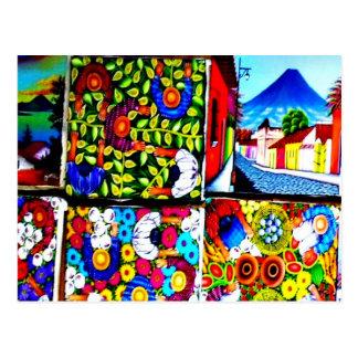 Mayan folkloric mural Guatemala postcard
