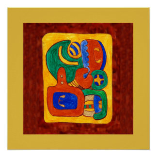 MAYAN GLYPH OF THE CITY STATE OF BONAMPAK POSTER