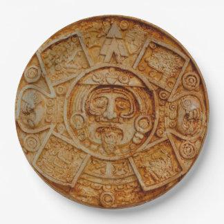 Mayan God Calendar Paper Plate