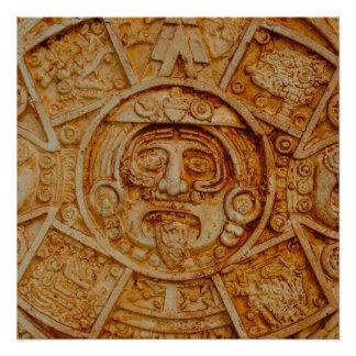 Mayan God Calendar Poster