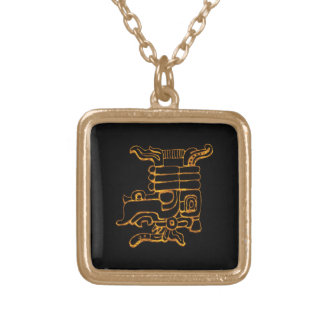 Mayan Gold Hieroglyphs Gold Plated Necklace