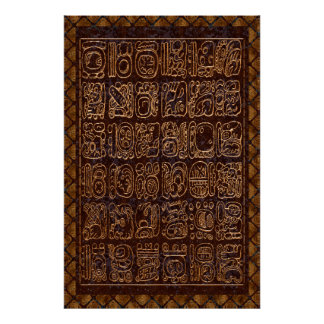 Mayan Hieroglyphics Panel Foil Folk Art Poster