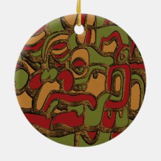 Mayan Hieroglyphs Design Ceramic Ornament