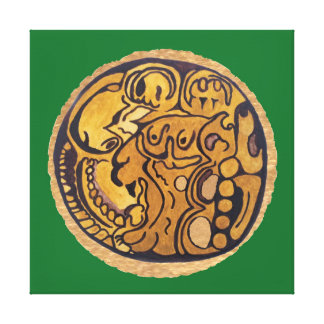 MAYAN JAGUAR MEDALLION-DARK GREEN BACKGROUND CANVAS PRINT
