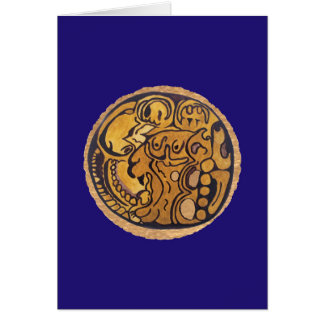 MAYAN JAGUAR MEDALLION- MIDNIGHT BLUE CARD