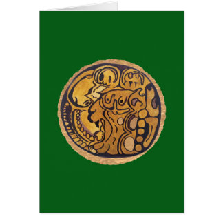 MAYAN JAGUAR MEDALLION- MIDNIGHT GREEN BACKGROUND CARD