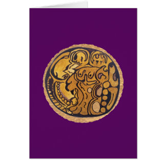 MAYAN JAGUAR MEDALLION MIDNIGHT PURPL BACKGROUND CARD