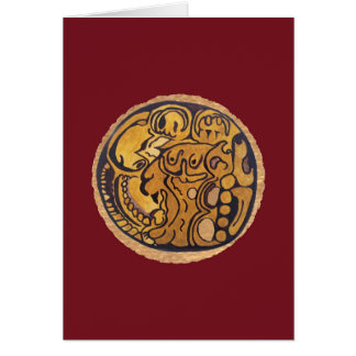 MAYAN JAGUAR MEDALLION- MIDNIGHT RED BACKGROUND CARD
