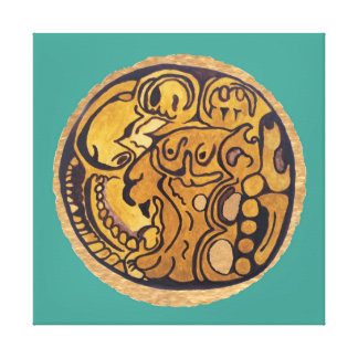 MAYAN JAGUAR MEDALLION-TURQUOISE BACKGROUND CANVAS PRINT