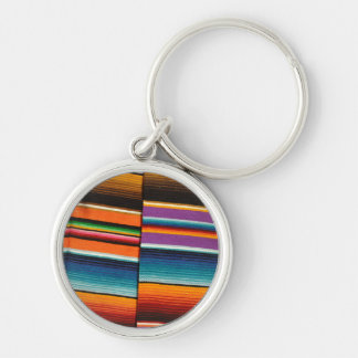Mayan Mexican Colorful Blankets Silver-Colored Round Key Ring