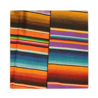 Mayan Mexican Colorful Blankets Wood Coaster