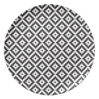 Mayan Rose Pearl Monogram Black White Knit Party Plates