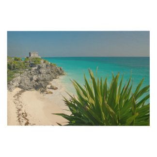 Mayan Ruins At The Beach In Tulum Wood Canvases