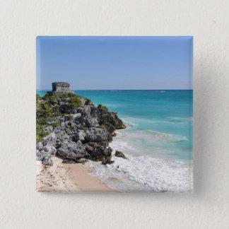 Mayan Ruins in Tulum Mexico 15 Cm Square Badge