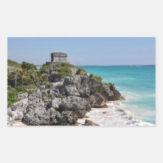 Mayan Ruins in Tulum Mexico Rectangular Sticker