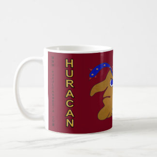 MAYAN SPIRIT HURACAN- DARK RED BACKGROUND- CANCUN COFFEE MUG