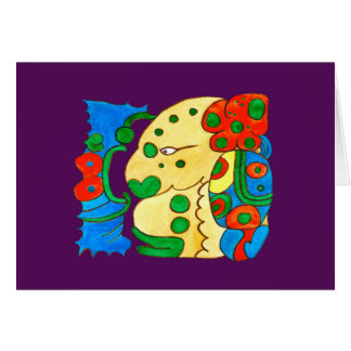 MAYAN SPIRIT IQUI BALAM- PURPLE BACKGROUND CARD