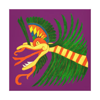 MAYAN SPIRIT KUKULCAN- PURPLE BACKGROUND CANVAS PRINT