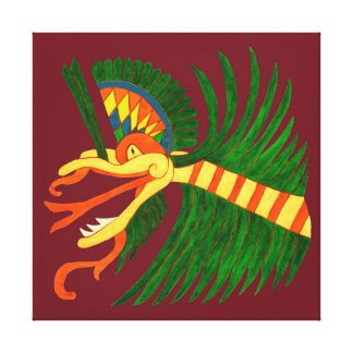 MAYAN SPIRIT KUKULCAN- RED BACKGROUND CANVAS PRINT