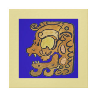 MAYAN SPIRIT OF DEATH- DARK BLUE AND GOLD CANVAS PRINT